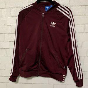 Adidas Burgundy Zip Up Track Jacket